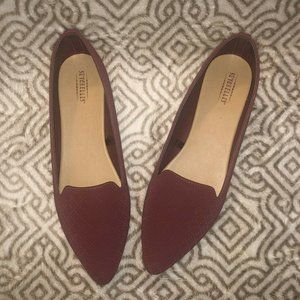 Maroon Flats Pointed Toe Work Red Burgundy Quilted